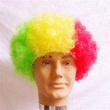 Национальный флаг чашки футбола дует Afro парика партии Halloween парика парики фанатического цветастого Kinky курчавые
