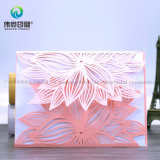 Tarjeta de papel de la flor de China de la invitación de plata única al por mayor de la boda
