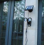 A luz de segurança do sensor de movimentos no exterior 300lm luz movidos a energia solar