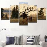 نوع خيش جدار فنية ملصقات أطباق نوع خيش يدهن 5 لوح حيوانيّ أيّل جدار صور لأنّ يعيش غرزة بيتيّة زخرفة أطر