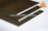 Revêtement composé en aluminium de mur de délié balayé par balai d'or argenté de miroir d'or