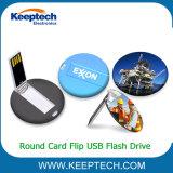 Tarjeta ronda Flip Logotipo personalizado unidad Flash USB 2GB 4GB 8GB 16GB 32 GB