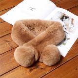 Bufanda cortada piel falsa cómoda caliente blanca del invierno del conejo de las mujeres