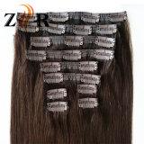 暗い色の人間の毛髪の自然な引かれたインドのヘアークリップ