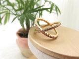 매력 다채로운 돌 14K 금 도금 분홍색 CZ 모조 다이아몬드 반지