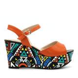 Sandali di formato del cuoio del tallone di cuneo delle calzature delle donne grandi