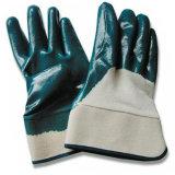 安全袖口(NC-015)が付いているニトリルの半分上塗を施してある手袋