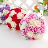 Comercio al por mayor de 3 colores disponibles las flores de seda de la boda Ramo de Rosas