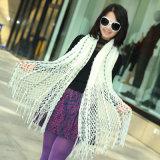Le signore adattano la sciarpa magica lavorata a maglia acrilica 2-Tone dello scialle del poncio (YKY4623)