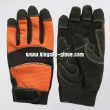 Упор для рук микроволокна спандекс назад оранжевый механик рукавицы рабочие перчатки (7220)