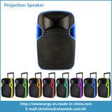 Sistema de PA de plástico Alto-falante de projeção de LED portátil com bateria