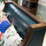 Sofá de couro genuíno estilo americano para mobiliário doméstico (como843)