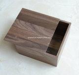 Boîte en bois gravée par coutume à noix de cadre de souvenir de couvercle spécial de logo