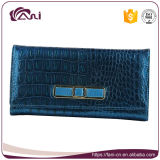 Бумажник неподдельной кожи крокодиловой кожи цвета Fani самый последний голубой