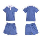 Chemise de polo primaire bleue en bloc d'uniforme scolaire du coton 100%