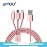 3 en 1 Nylon trenzado Micro Lightning Tipo-C Cable USB