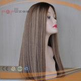 Largo cabello rubio Omber Top de seda de color de la mujer peluca