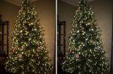 Árbol de navidad artificial blanco con la decoración del LED