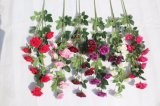 ホーム結婚式の装飾のための絹の赤いローズの人工花の擬似花