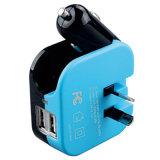 2 в 1 двойном заряжателе стены дома заряжателя автомобиля USB Port с складной штепсельной вилкой Au