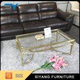 Mesa de café europeia de ouro em metal dourado com tops de espelho