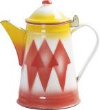 Caldera del café del esmalte con el diseño de Colofull
