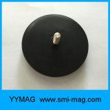 Magnete materiale di NdFeB del POT del filetto maschio del neodimio rotondo rivestito di gomma della terra rara