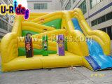 Смешной желтый надувной слайд для детей