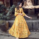 Mesdames fashion en mousseline robe florale de commerce de gros