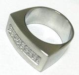 De Ring van CZ van het Roestvrij staal van de Manier van de Juwelen van het lichaam (CZR2523)