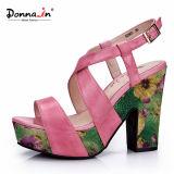 Ботинки сандалий женщин высоких пяток повелительницы Кожи Флористическ Соткать Платформы