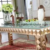 Banquete retangular de vidro Mesa de jantar e cadeira para casa de banho moderna