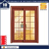 باب صلبة خشبيّة مزدوجة زجاجيّة حديثة داخليّ خشبيّة