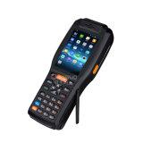 Écran tactile PDA tenu dans la main androïde avec le lecteur raboteux de l'imprimante NFC