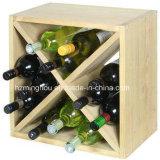 24 estantes de madera montados en la pared del vino de la botella con diseño razonable