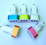 Three USB Car Charger with Different Color
