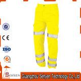 Pantalon r3fléchissant de sûreté de travail de pantalons élevés jaunes faits sur commande de visibilité