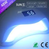 Сушильщик маникюра никакие боль и быстро сушит полностью светильник Sun5 48watt ногтя ультрафиолетового света СИД гелей