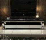 Einfache Art-moderner Edelstahl Fernsehapparat-Standplatz mit Schaukasten