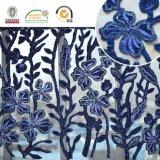 濃紺の敏感な刺繍の花模様のレースファブリック、最も新しいデザインおよび熱い販売法C10037