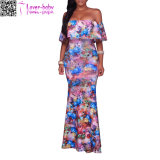 Veronique Blue Multi-Color Floral Print Off-The-Shoulder Maxi Dress L51404