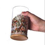 Vaso di vetro del tè del vaso del cioccolato del vaso della caramella del coperchio di legno