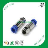 Tipo conector azul masculino de la compresión del cable RG6 de F