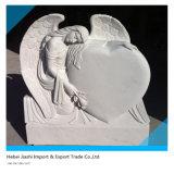 Angel Holding Headstone em forma de coração com mármore branco e em granito preto