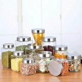 POT di vetro della scatola metallica della guarnizione di memoria della cucina di Caldo-Vendita con il coperchio del metallo