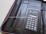 Lista de cuero de la presentación de la PU de Brown con la calculadora