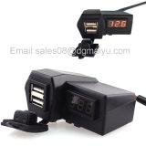 12 ~ 24V impermeável carro de motocicleta ATV duplo carregador USB voltímetro digital alavanca de cigarro plug de alimentação com suporte de guiador