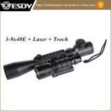 portata del fucile illuminata 3-9X40e + rosso laser + torcia