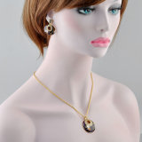 女性の方法宝石類のエナメルの低下のイヤリングおよびネックレスセット