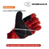 Перчатки заварки коровы безопасности серого цвета K-21 работая Split кожаный